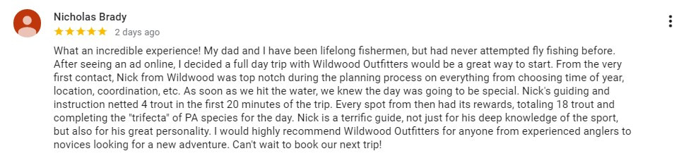 PA fly fishing guide testimonials.