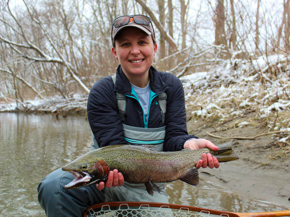 Steelhead fly fishing in Lake Erie.